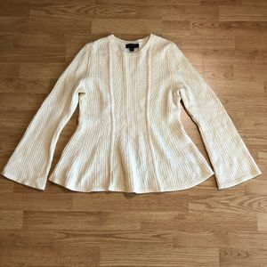 🌈Ann Taylor Cream Wool Sweater Bell Sleeve